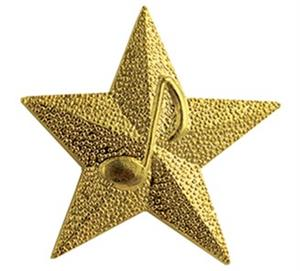 star with music note pin