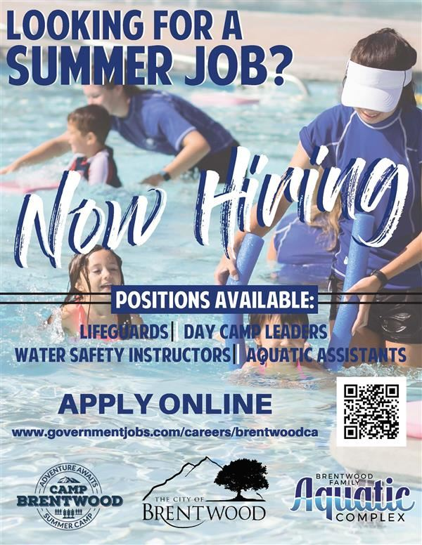 The City of Brentwood is now accepting applications for our seasonal summer jobs. scan barcode to apply