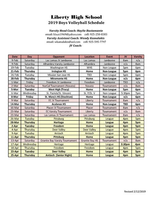 Boys Volleyball Schedule